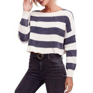 Free People Just My Stripe Cropped Boxy Sweater